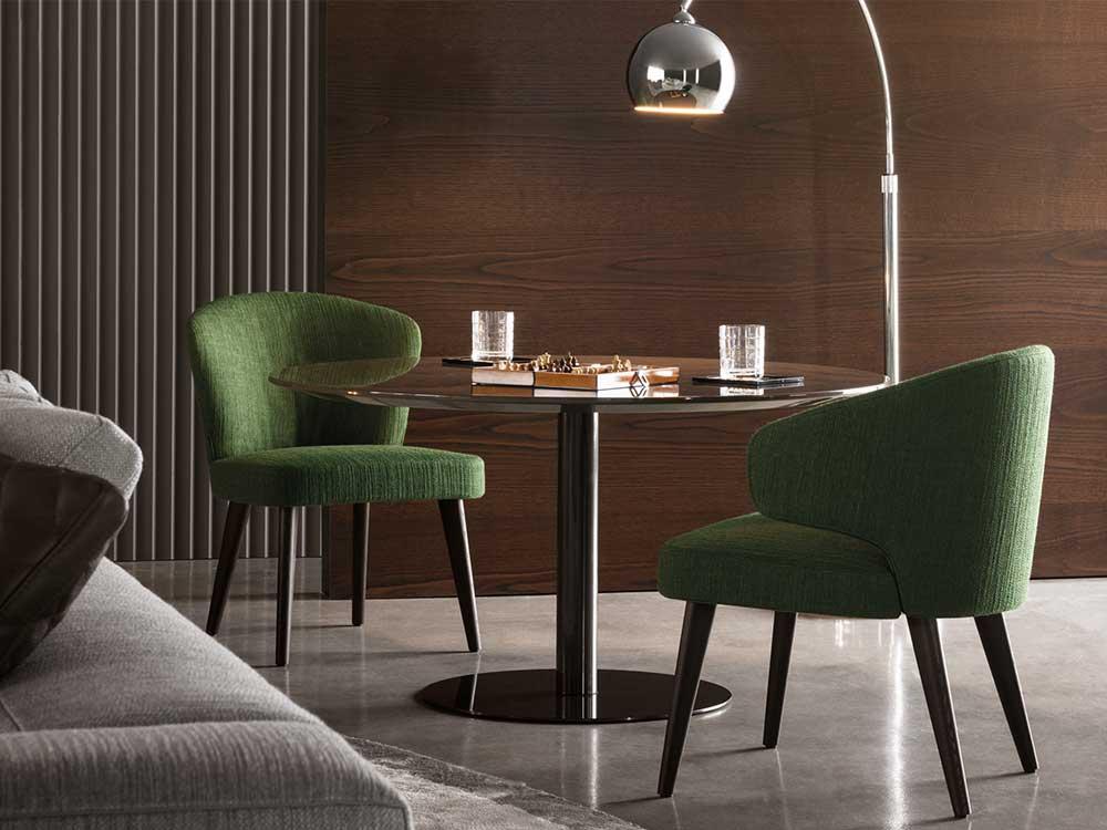 Minotti-Aston-eetkamerstoel-groen-stof