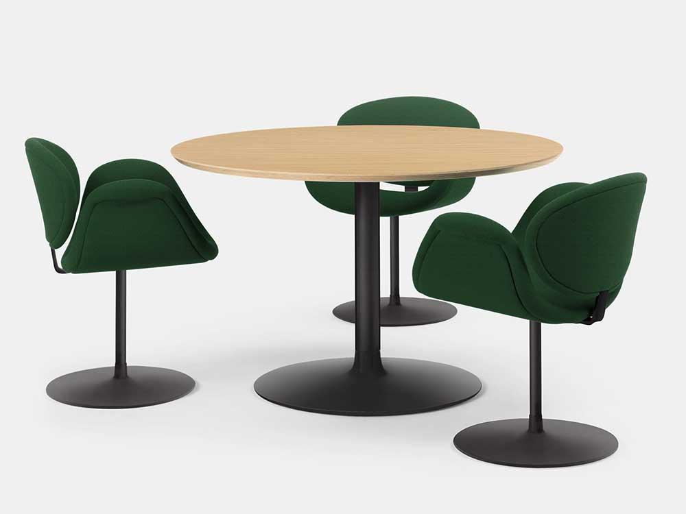 Artifort-Tulip-Midi-Chair-eetkamerstoel-groen-stof