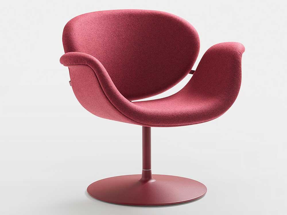 Artifort-Tulip-Midi-Chair-eetkamerstoel-rood-stof-2