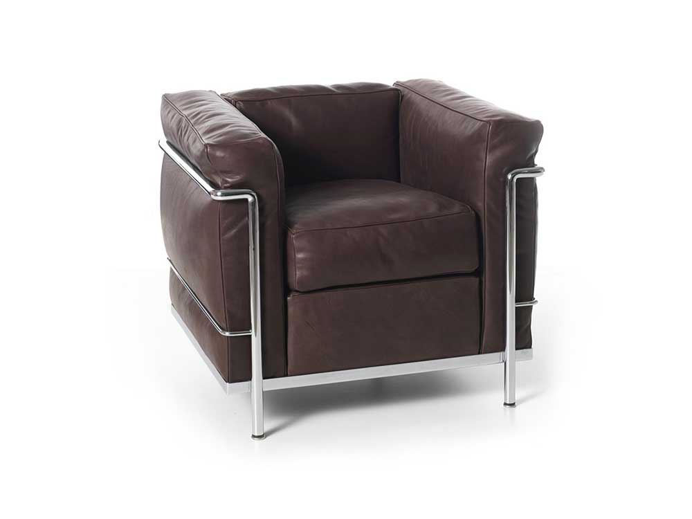 Cassina-LC2-fauteuil-leder-donkerbruin-1