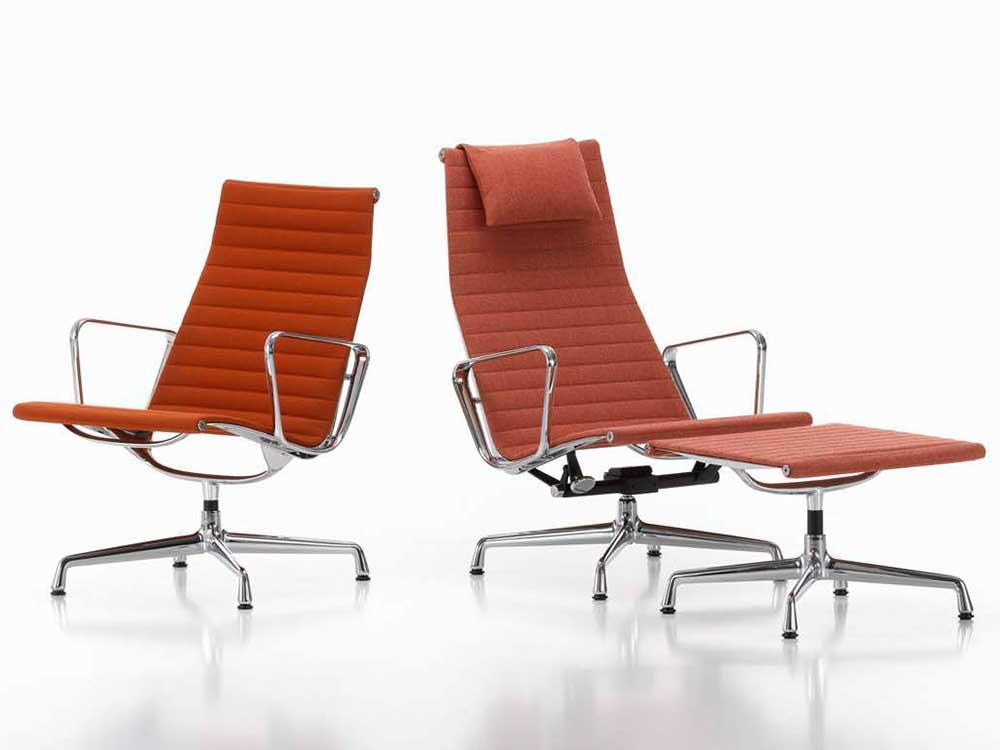 Vitra-Aluminium-Chair-fauteuil-stof-oranje