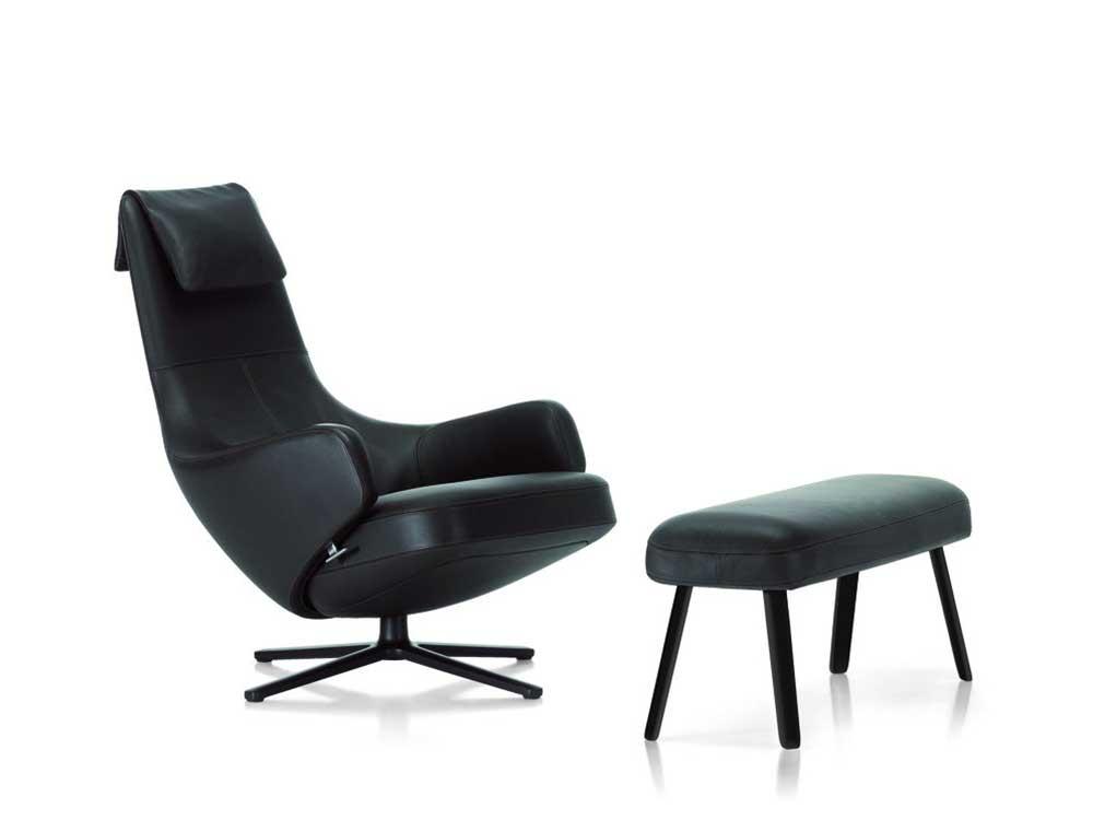 Vitra-Repos-fauteuil-leder-zwart