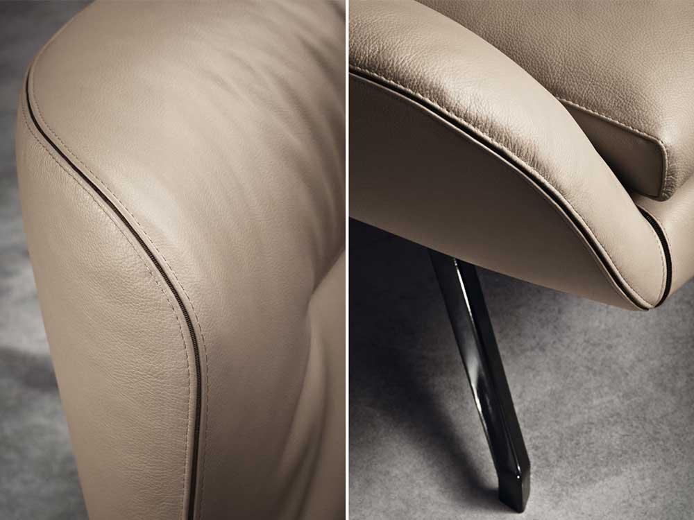 Minotti Jensen fauteuil bruin detail