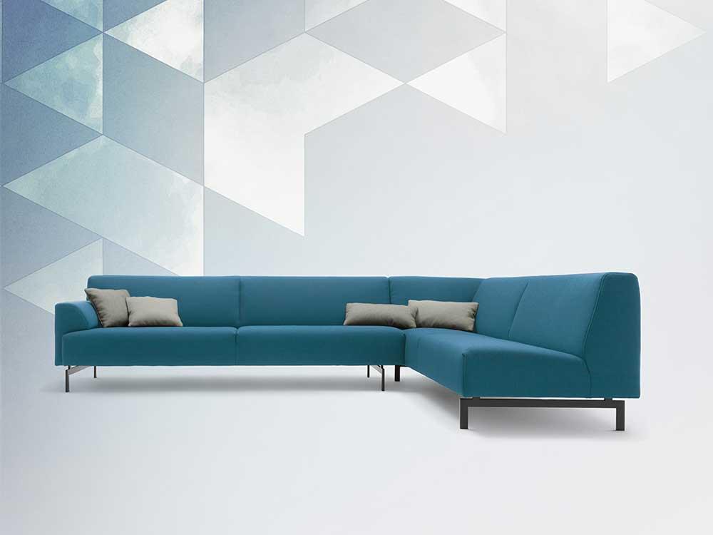 Blauwe Design Bank.Rolf Benz 310 Hoekbank Cilo Interieur