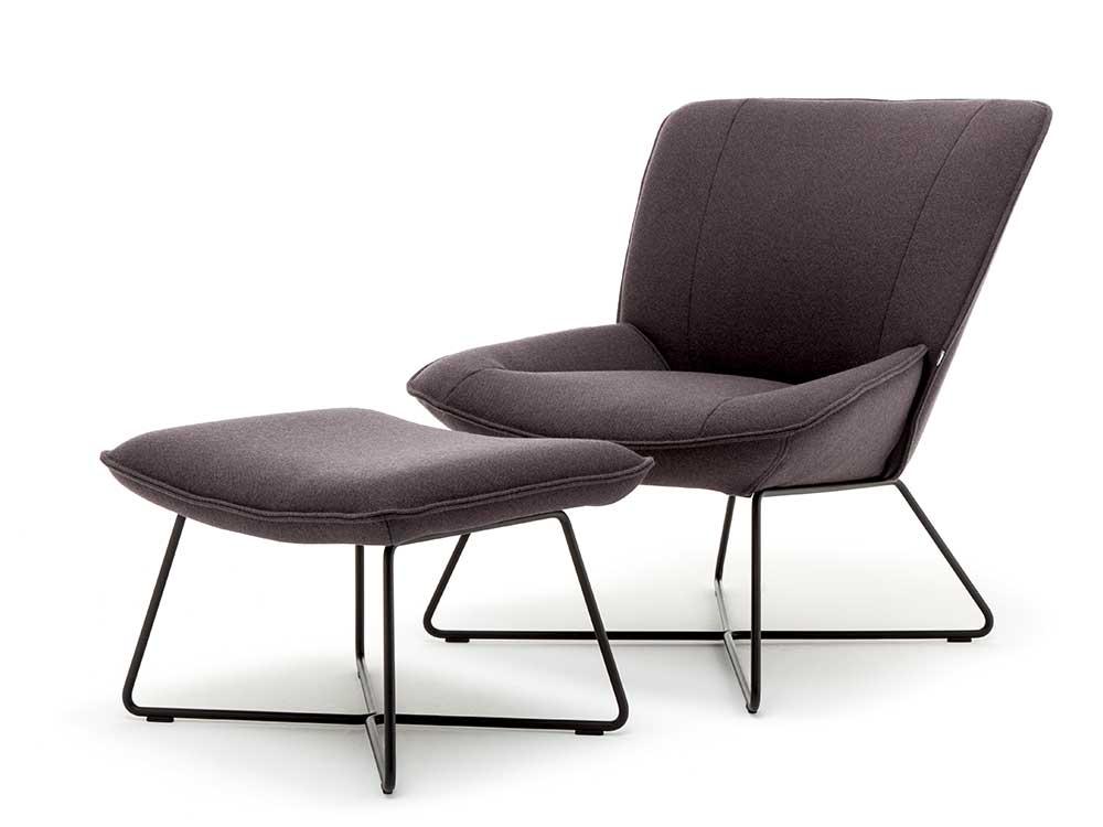 Rolf-Benz-fauteuil-383-hocker-bruin-stof