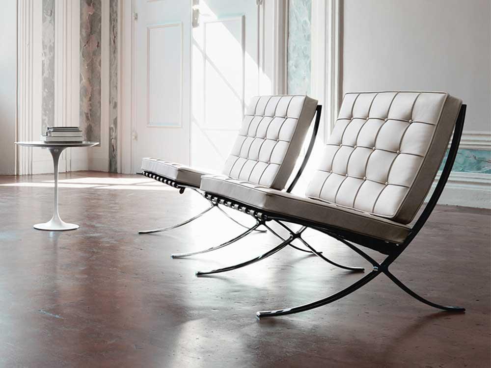 Design Fauteuil Wit Leer.Knoll Barcelona Fauteuil Cilo Interieur