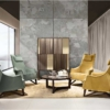 Giorgetti-Mobius-fauteuil-stof-groen-geel