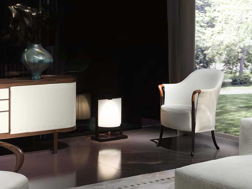 Giorgetti-Progetti-fauteuil-stof-leer-wit