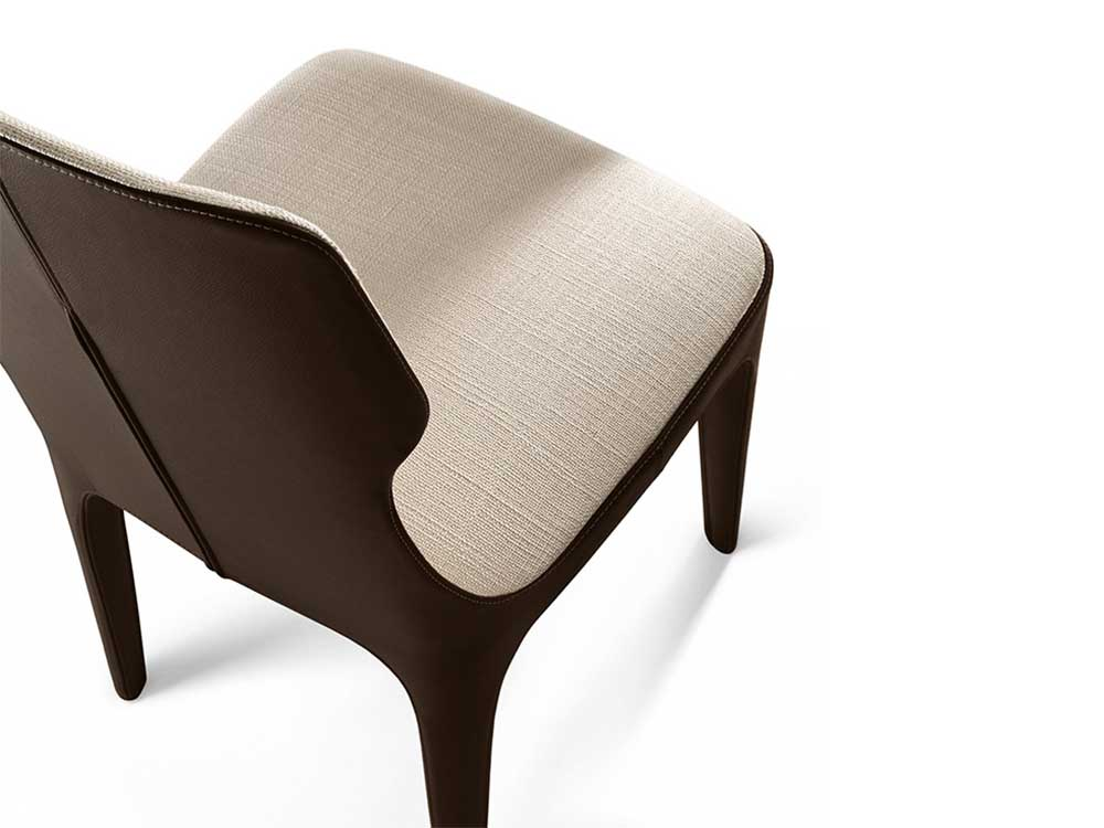 Giorgetti-tiche-stoel-bruin-leer-naturel-stof