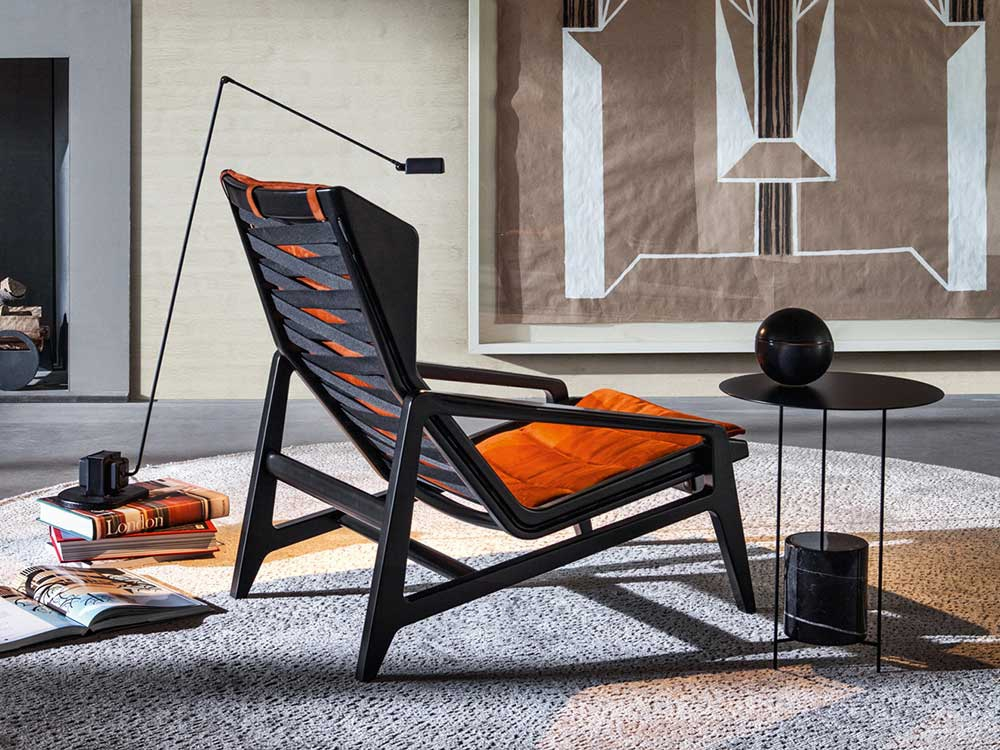 Molteni-Gio-Ponti-fauteuil-D-156-3-stof-oranje