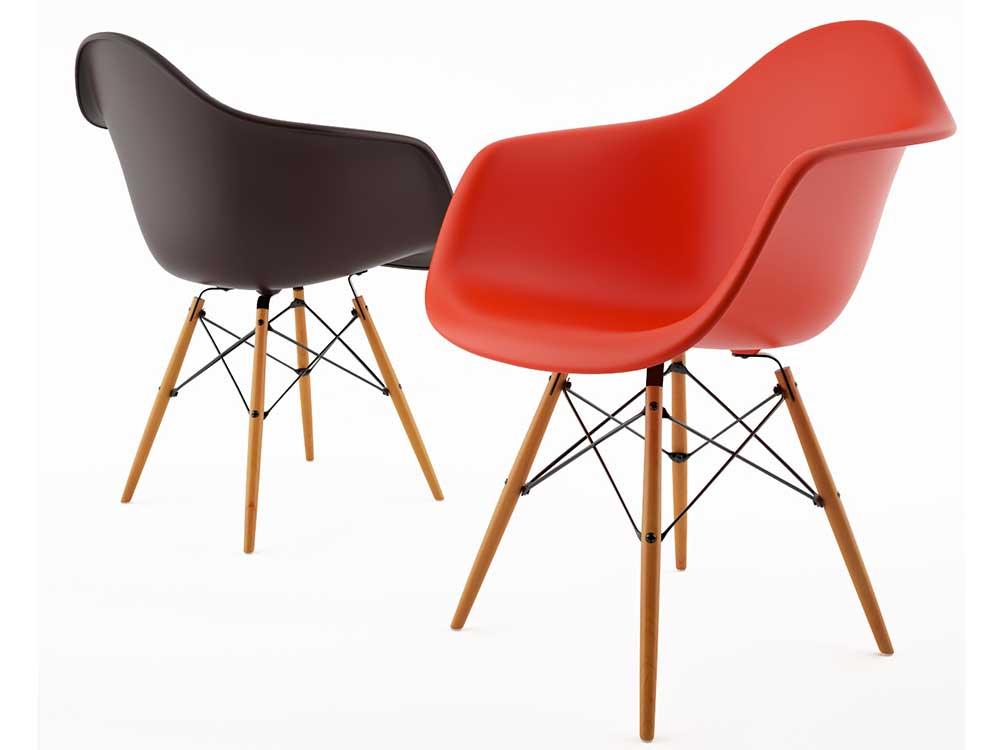 Vitra-DAW-Armchair-eetkamerstoel-rood-zwart