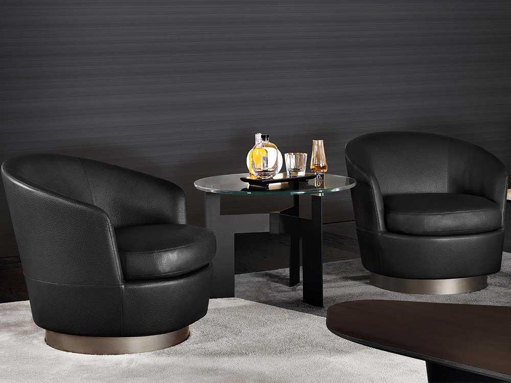 Minotti-Jacques-fauteuil-leer-zwart