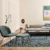 Gubi Beetle-fauteuil-stof-groen-print
