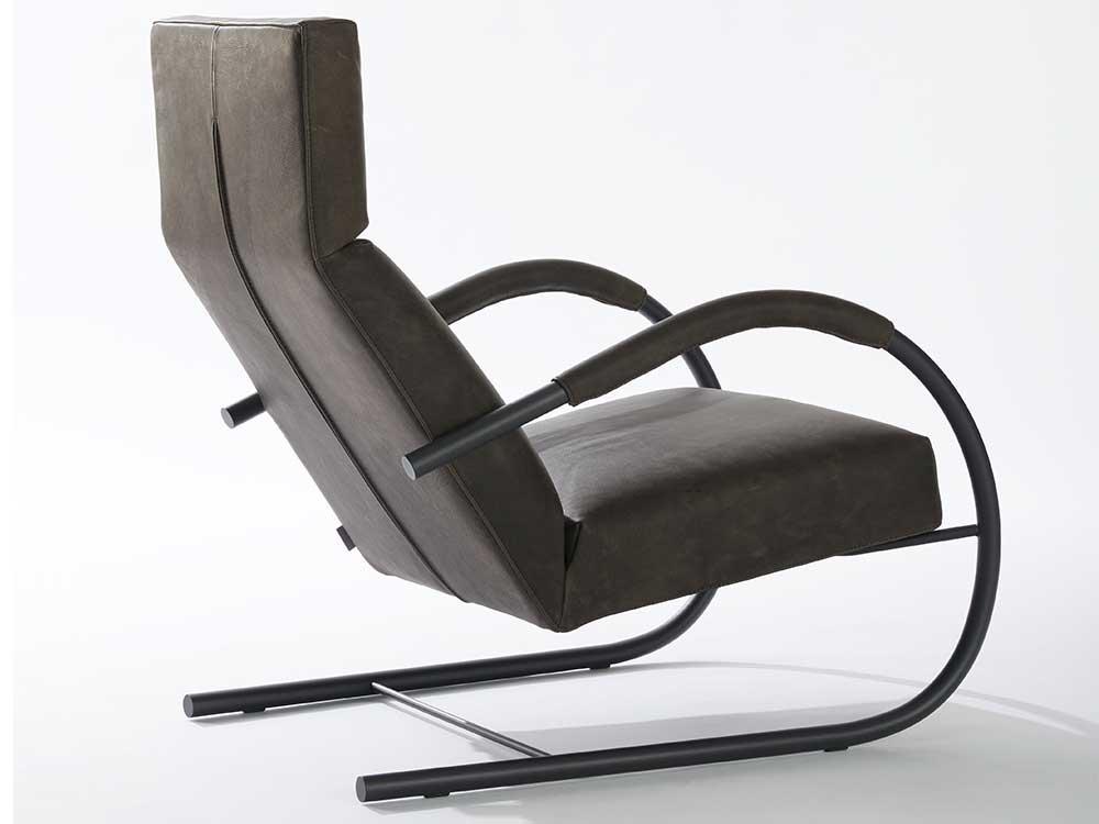 Speedster-fauteuil-leer-zwart-groen-achterkant