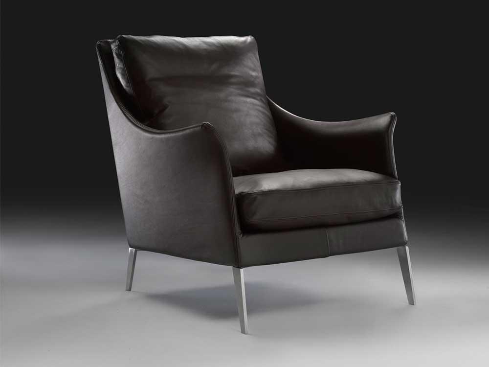 Flexform-Boss-fauteuil-leer-donker-bruin