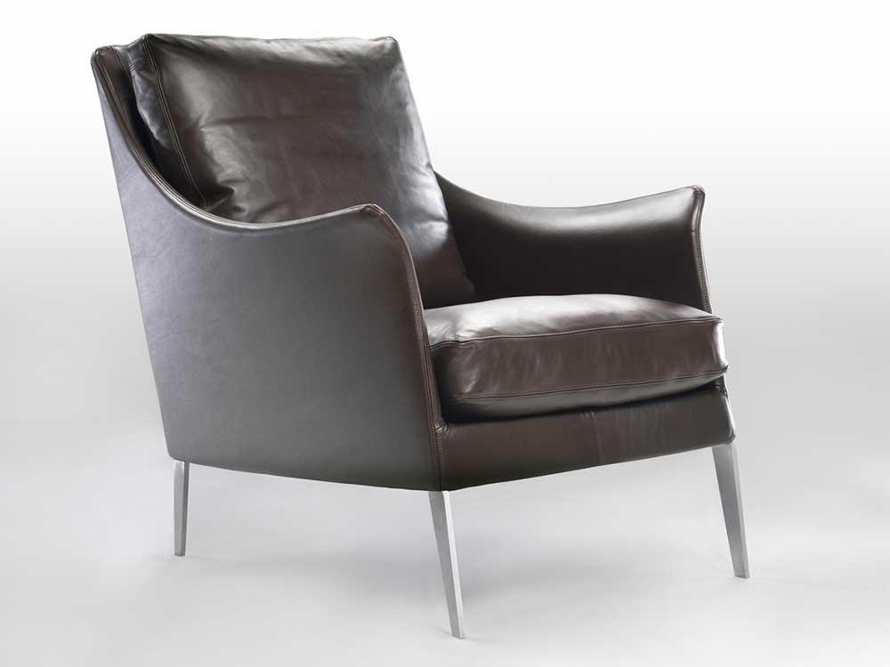 Flexform-Boss-fauteuil-leer-donker-bruin-5