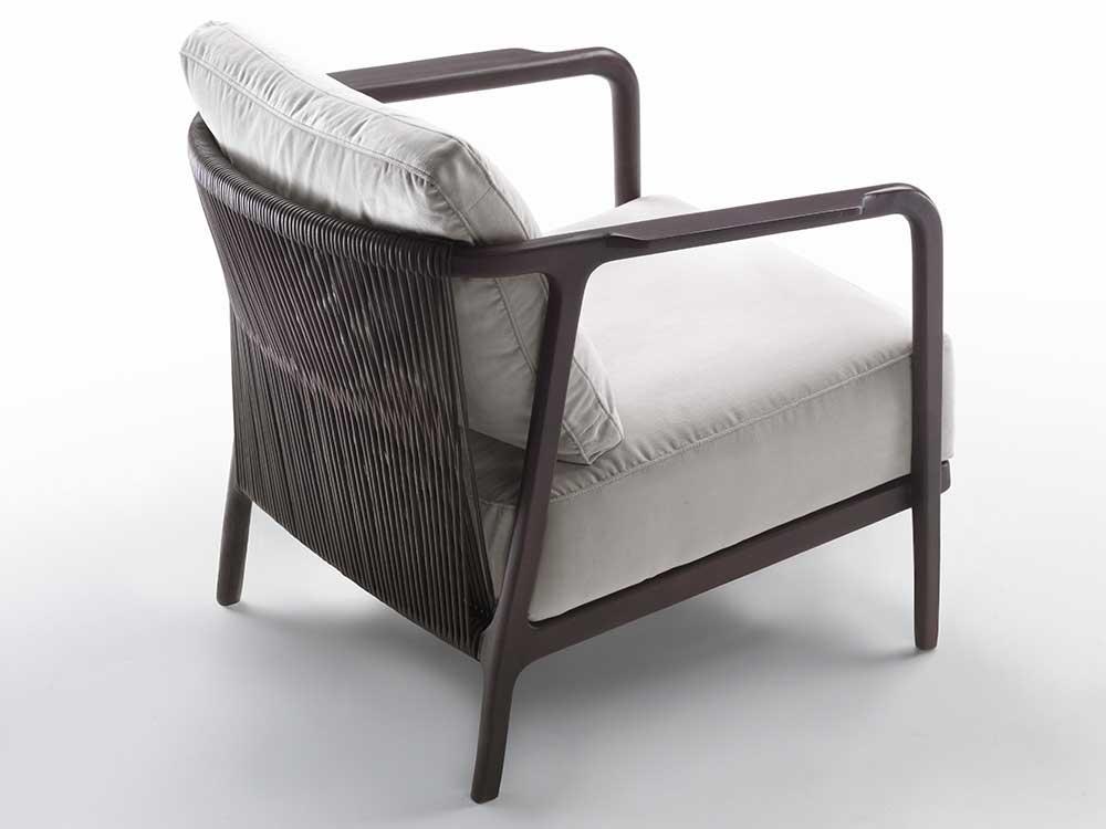 Flexform-Crono-fauteuil-bruin-hout-grijs-stof-2