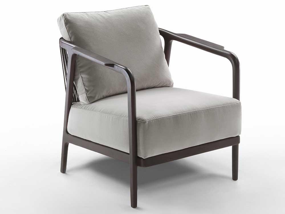 Flexform-Crono-fauteuil-bruin-hout-grijs-stof