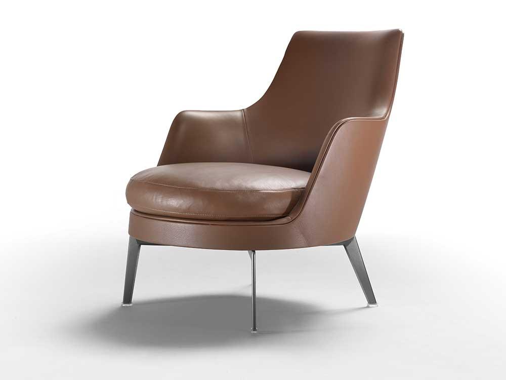 Flexform-Guscio-fauteuil-leer-bruin