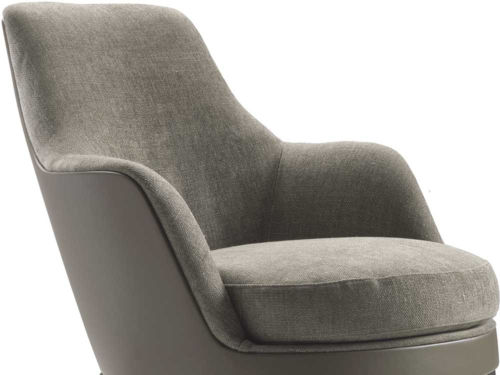 Flexform-Guscio-fauteuil-stof-grijs-detail