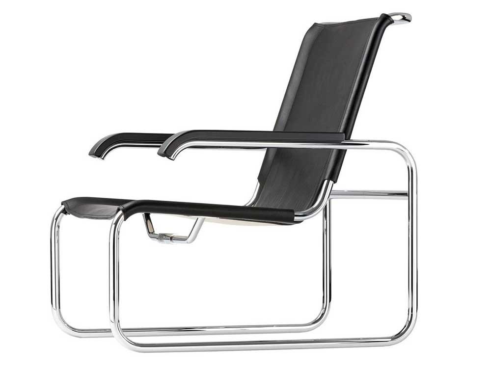 Thonet-S-35L-fauteuil-leer-zwart